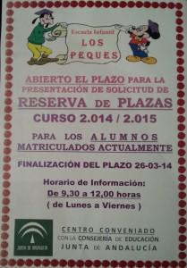 Apertura de Reserva de Plazas